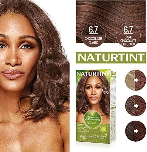 Naturtint Coloración 6.7 Chocolate Claro. Tinte sin Amoniaco. 100% Cobertura de canas e Hidratación. Ingredientes y Aceites Vegetales. Color Natural y ...