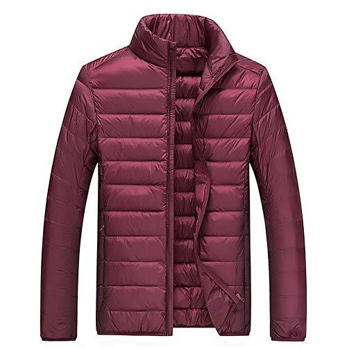Mens Down Jacket Lightweight Warm Winter Coat Featherweight Between-Seasons Puffer Stand Collar Packable Sports Jacket,WineRed,L -