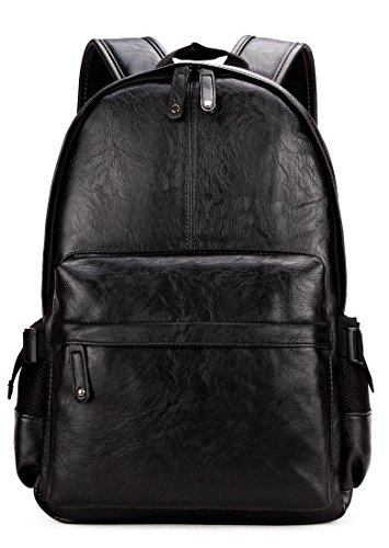 Black Leather Backpack - Kenox Vintage PU Leather Backpack School College Bookbag Laptop Computer Backpack - Black