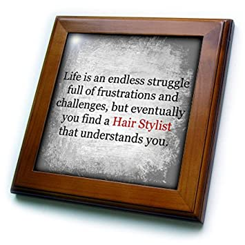 3dRose ft_201918_1 Life is an Endless Struggle Until You Find a Hair Stylist Framed Tile, 8 by 8