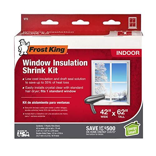 Frost King V73H Shrink Film Window KIT, 1-Pack, Clear, Transparent Best Heat Shrink Film Window
