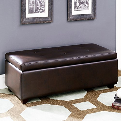 AC Pacific Matthews Collection Contemporary Style Leather Infused Fabric Upholstered Button Tufted Living Room Storage Ottoman, Brown
