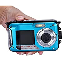 Kwok Double Screen Waterproof Camera 24MP 16x Digital Zoom Dive Camera (Kwok Photography series) (Blue)