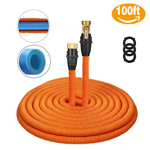 Tacklife 100ft Garden Hose, Innovative 2018 Leakproof Patent Connector Lightweight Expandable Water Hose, Durable Double Latex Core, Solid Brass Fittings, Free Net Bag, 3 Extra Rubber Gaskets – Orange