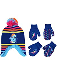 Hasbro My Little Pony Hat and 2 Pair Gloves or Mittens Cold Weather Set, Little Girls, Age 2-7 (Blue Design - Age 2-4 - Mittens Set)