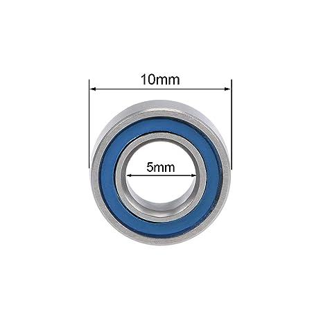 sourcing map MR105-2RS Rainure Profonde Roulement Billes 5mm Interne Dia 10mm OD 4mm Al/ésage Double Scell/é Chrome Acier Sceau bleu Z2 20Pcs