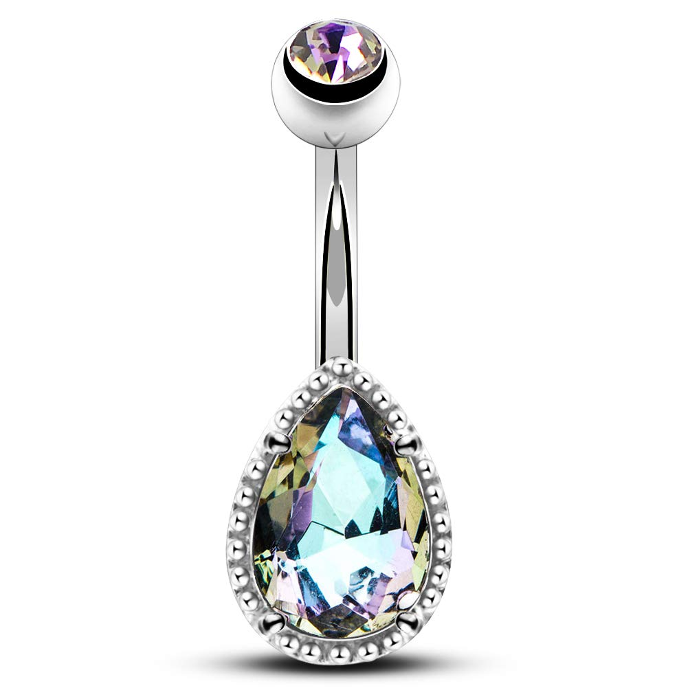 OUFER 14G Surgical Steer Belly Button Rings Tear Drop CZ Gem Navel Rings Belly Jewelry by OUFER
