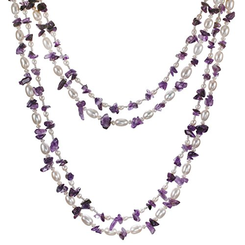 HinsonGayle 'Amelia' 2-Strand Amethyst & Freshwater Cultured Pearl Rope Necklace & Dangle Earrings-40 in length by HinsonGayle Fine Pearl Jewelry