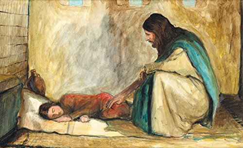 TALITHA CUMI-Original Signed Art Print- Painting of Jesus Raising Jairus' Daughter- Ready To Hang! Perfect Gift! Available in Various Sizes! Framed or Just Matted! (Frame -Antique Gold, 8.5