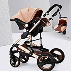 3 in 1 Foldable Baby Stroller Travel System with Anti-Shock Springs and Baby basket        This baby stroller features shake-proof design, is adjustable for baby to sit or sleep. Made of aluminum alloy, it is durable and sturdy for lon...