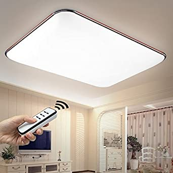 NatsenR LED Ceiling Light Modern Lamp Fit Bedroom Living Room Silver I503Y 40W Dimmable