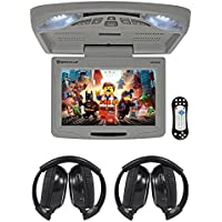 Rockville RVD12HD-GR 12 Grey Flip Down Car Monitor DVD/USB/SD Player+Headphones