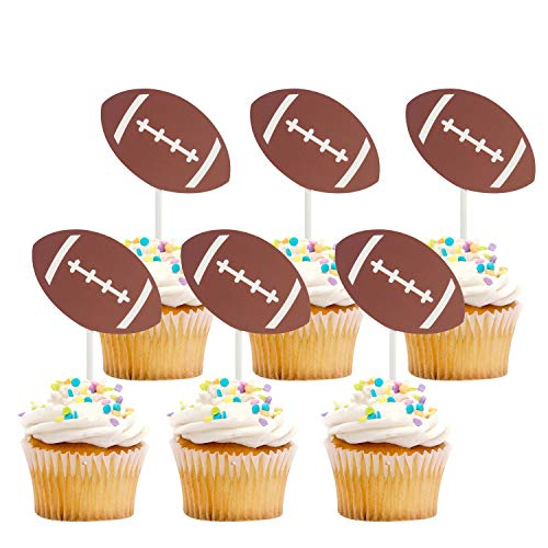 - iMagitek 30 Pack US Football Cupcake Toppers Picks Cake Decorations for Kids Birthday, Football Theme Party