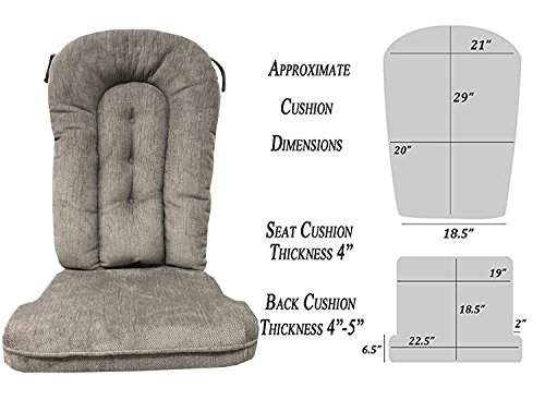 Replacement Cushion Set Glider Rocker, Grey ()