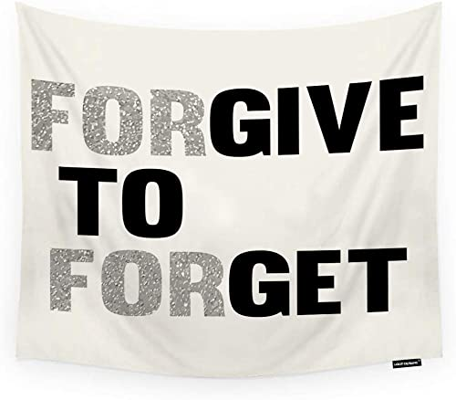 HGOD DESIGNS Quote Tapestry Wall Hanging Forgive to Forget Room Decorative Wall Tapestry for Men Women Girl Boy Polyester 60 X90