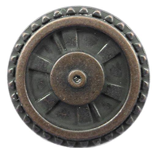 Steampunk Button - Closed Wheel Button - Antique Copper Finish 5/8