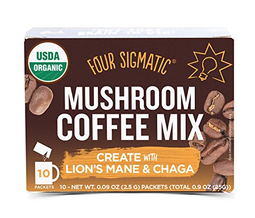 Four Sigmatic Mushroom Coffee, USDA Organic Coffee with Lion's Mane and Chaga mushrooms, Productivity, Vegan, Paleo, 10 Count, Packaging May Vary -