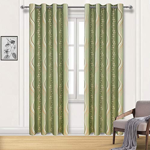 DWCN Jacquard Blackout Curtains - Thermal Insulated Room Darkening Grommet Top Bedroom and Living Room Curtain Panels, 52 x 84 Inches Long, Set of 2 Panels, Light Green