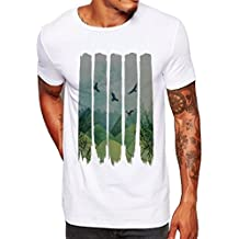 Elogoog Men Stripe Floral Printed Tees Shirt Modal Short Sleeve T Shirt Casual Loose Blouse