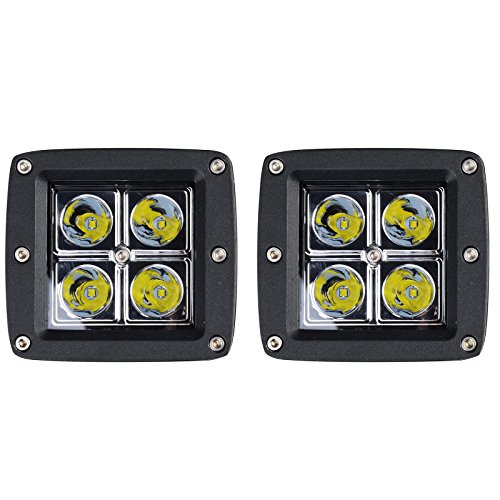 Quad Tractor (Kawell K3-3016 2 Pack 16W SPOT Light 1000 Lumens 3x3 Pods for Work, Driving, Fog, Safety, 4x4, Atv, Car, Truck, 4wd, Suv, Tractor, Motorcycle, Boat, Quad, Utv, and Auxiliary Lighting)