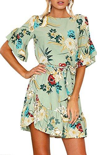 Dress Hem Ruffle (ECOWISH Womens Dresses Floral Print Short Sleeves Ruffle Hem Casual Mini Dress with Belt Green XL)