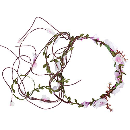 Felice Arts Floral Headband Adjustable Flower Crown Bridal Hair Wreath Flower Garland Headdress for Wedding Festival Themed Party Vacation Maternity Photography Props Halloween Fairy costume or Christ -
