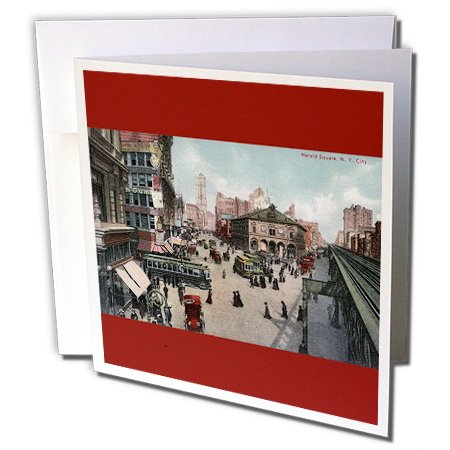 3dRose Herald Square, New York City Vintage Street Scene - Greeting Cards, 6 x 6 inches, set of 12 - Nyc Herald