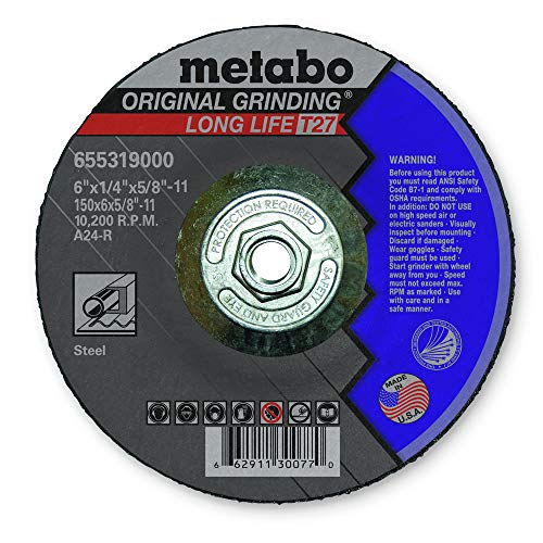 Metabo 655319000 6 in. x 1/4 in. A24R Type 27 Depressed Center Grinding Wheel (25-Pack)