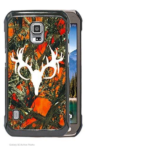 Accy Cases - Real Tree Orange Camo Buck White Camo Head Samsung Galaxy S5 Active Cell Phone Case