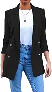 Puimentiua Womens 3/4 Sleeve Blazer Office Open Front Cardigan Ladies Solid Work Suit Buttons Jacket Outerwear.(S-5XL)