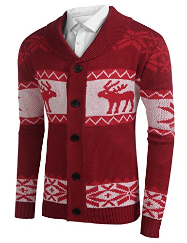 HOTOUCH Men's Shawl Collar Sweater Snowflake Moose Button Cardigan Sweater (Red - Christmas Sweater Moose