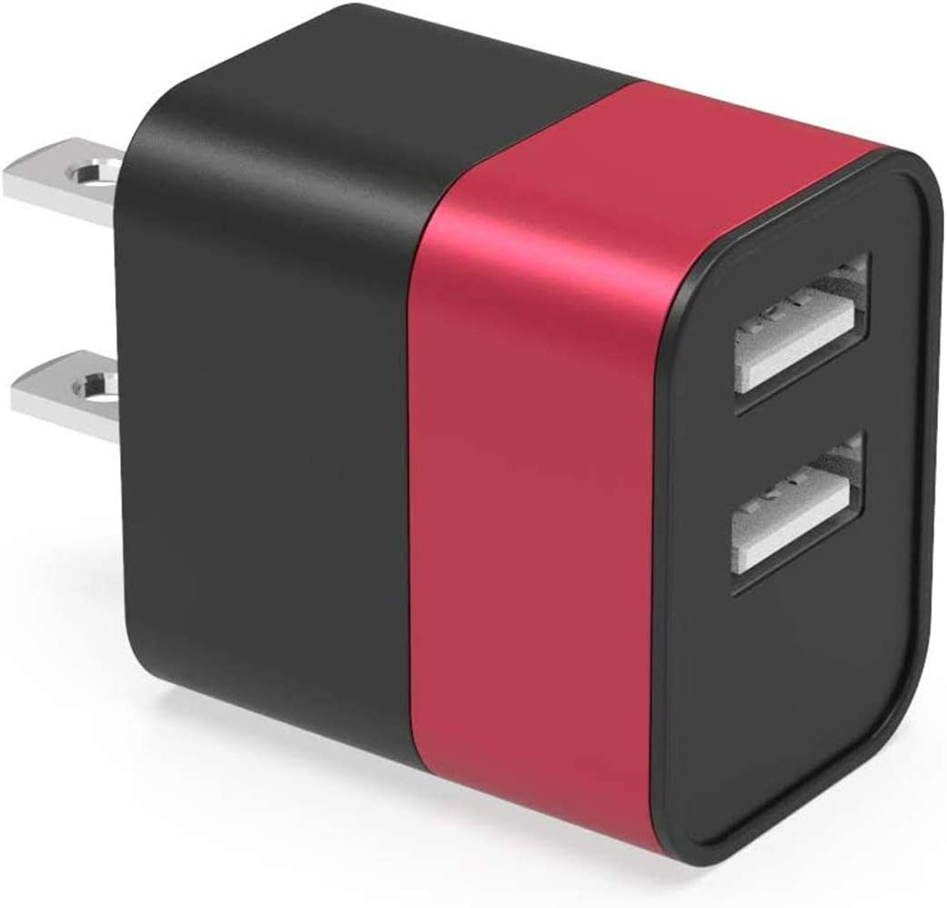 5V/2.4A USB Wall Charger, Dual 2 Port USB Charger Adapter, 12W Charger Block Plug Cube Replacement Fit for iPhone, iPad, Google Nexus, Samsung, LG, HTC, Moto, Kindle eReaders and More