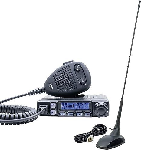 Radio CB PNI Escort HP 7120 ASQ, RF Gain, 4W, 12V y CB PNI Extra 48 Antena con imán Incluido, 45cm, SWR 1.0, Am/FM Solo Funciona en la Banda de la EU