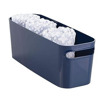 mDesign Cesta para baño – Caja organizadora de plástico para toallas, productos de cosmética y