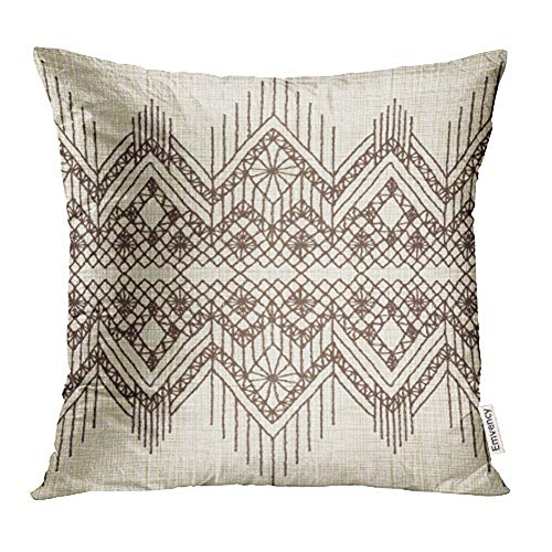 (Emvency Throw Pillow Covers Decorative Cases Beige Lace Floral with Fringe Border Knitted Woven Macrame in Boho Style American 20x20 Inch Cover Cushion Pillowcase Square Case Print)