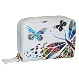 Buxton Womens RFID Accordion Double Zippered Wizard Credit Card ID Holder Travel Wallet (Butterfly Print)