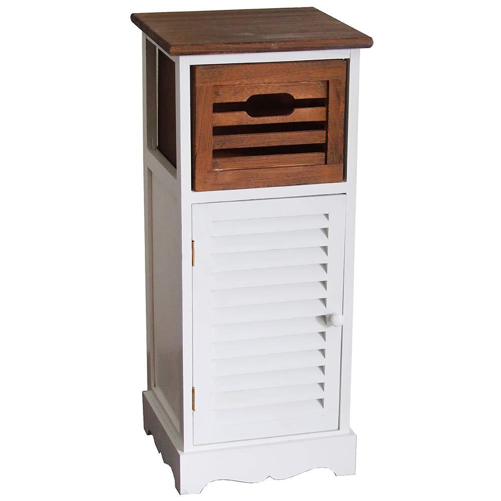 Nxtbuy Schubladenschrank aus Holz in Weiß Braun 31 x 29 x 72 cm - Vintage Schränkchen Korbregal mit Schublade - Kommodenschrank aus Echtholz