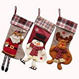 "Classic Christmas Stockings, Timodecor 18"" Big Size 3D Plush Xmas Craft Socks Santa Snowman Reindeer Character Decorations Christmas"