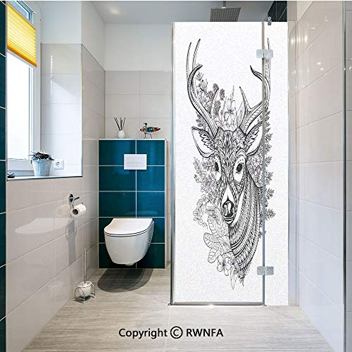 RWNFA No Glue Static Cling Glass Sticker Hand Drawn Horned Deer with High Details Ethnic Ornaments Wild Flowers Herbs Decorative Decorative Film,23.6