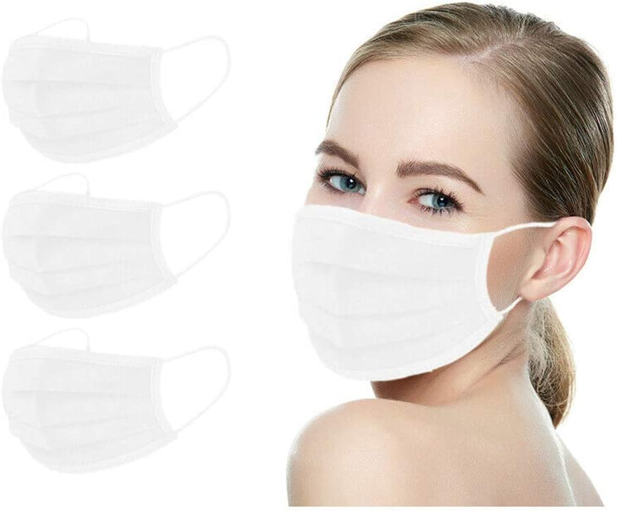 Amba7 MADE IN USA Reusable Breathable Cloth Face Mask - Machine Washable, Non-Surgical Double Layer Anti-Dust Protection, Unisex - For Home, Office, Travel, Camping or Cycling (WHITE 3-Pack) In Stock