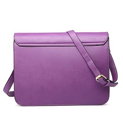 Miss Lulu Brand Vintage Designer Faux Leather Work Briefcase Satchel Bag School Bag (Purple) - more-bags