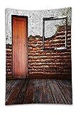 Beshowereb Fleece Throw Blanket Antique Decor Set Picture Frame Put On a Damaged Brick in Aged Old Room Wooden Floor Bathroom Accessorie Extralong.jpg