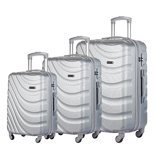 3 Piece Luggage Set Durable Lightweight Hard Case pinner Suitecase 20in24in28in LUG3 LY43 SILVER by HyBrid & Company