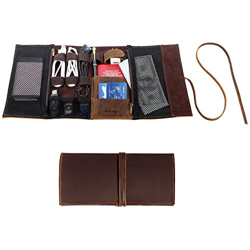 Genuine Crazy Horse Leather Electronics Organizer Roll Bag Travel Pouch for USB Cable, SD Card, Charger, Earphone, Passport, Cash, Coins, Hard Drive by BY BARNEY by BY BARNEY (Image #6)'