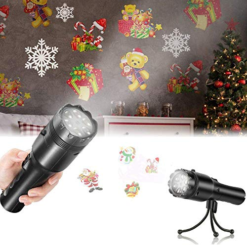Holiday LED Projector, SENDOW 12 Slides Decorative Lights for Halloween/Christmas/Birthday Party Lights, Rechargeable Handheld Flashlight with Tripod -