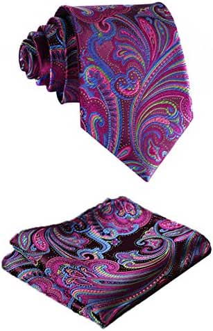 SetSense Men's Floral Jacquard Tie Necktie Set 8.5 cm / 3.4 inches in Width Hot Pink / Green