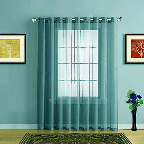Blue Pleated Drapes (Warm Home Designs 1 Extra-Wide Sea Blue Sheer Patio Curtain Panel 102 x 95 Inch Long with Grommets. Designed as Patio Door, Sliding Glass Door, or Room Divider Drape - K Patio Sea Blue 95