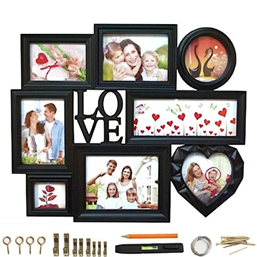 "Modern Design Black Collage Picture Frame 8 Section Glass With ""Love"" 3D Letters and Heart Shape Frame 23"" x 18.5"" BUNDLE Picture Hanging Kit + Level"