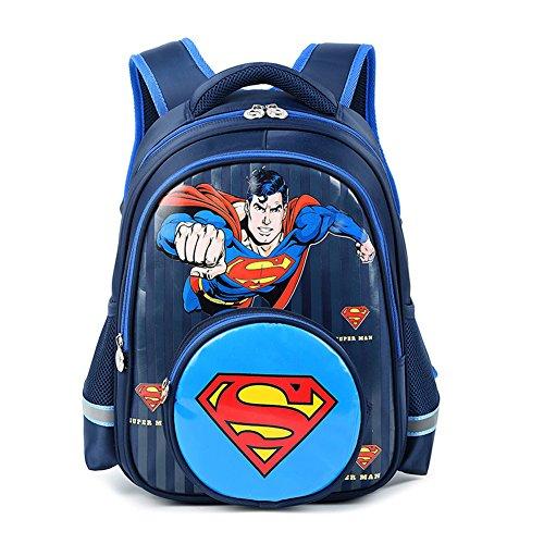 YOURNELO Boy's Marvel Avengers DC Justice League Backpack Bookbag (Super Man 1) (Justice League Marvel)