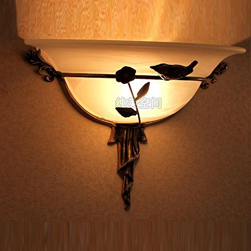 European Vintage Bronze Bird Torch Corridor Wall Lights Gate Door Glass Semi-Circle Lampshade Wall Sconce American Backgroud Bathroom Mirror Front Wall Lighting Fixtures (Yellow-Right) by bestsellerStars